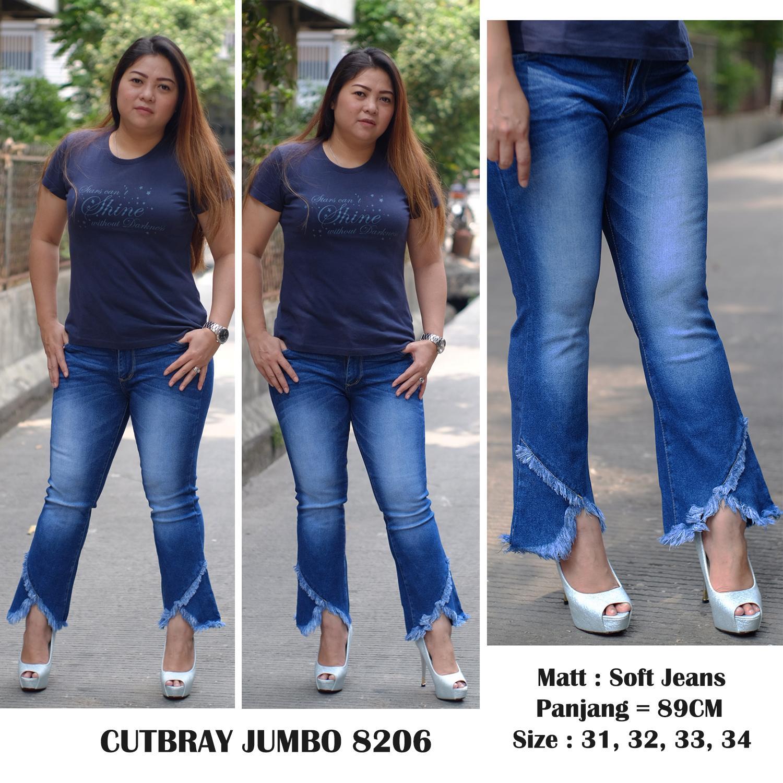 Detail Gambar Rumah Jeans / Celana Jeans Jumbo Cutbray Wanita 8206 / Jeans Big Size Terbaru