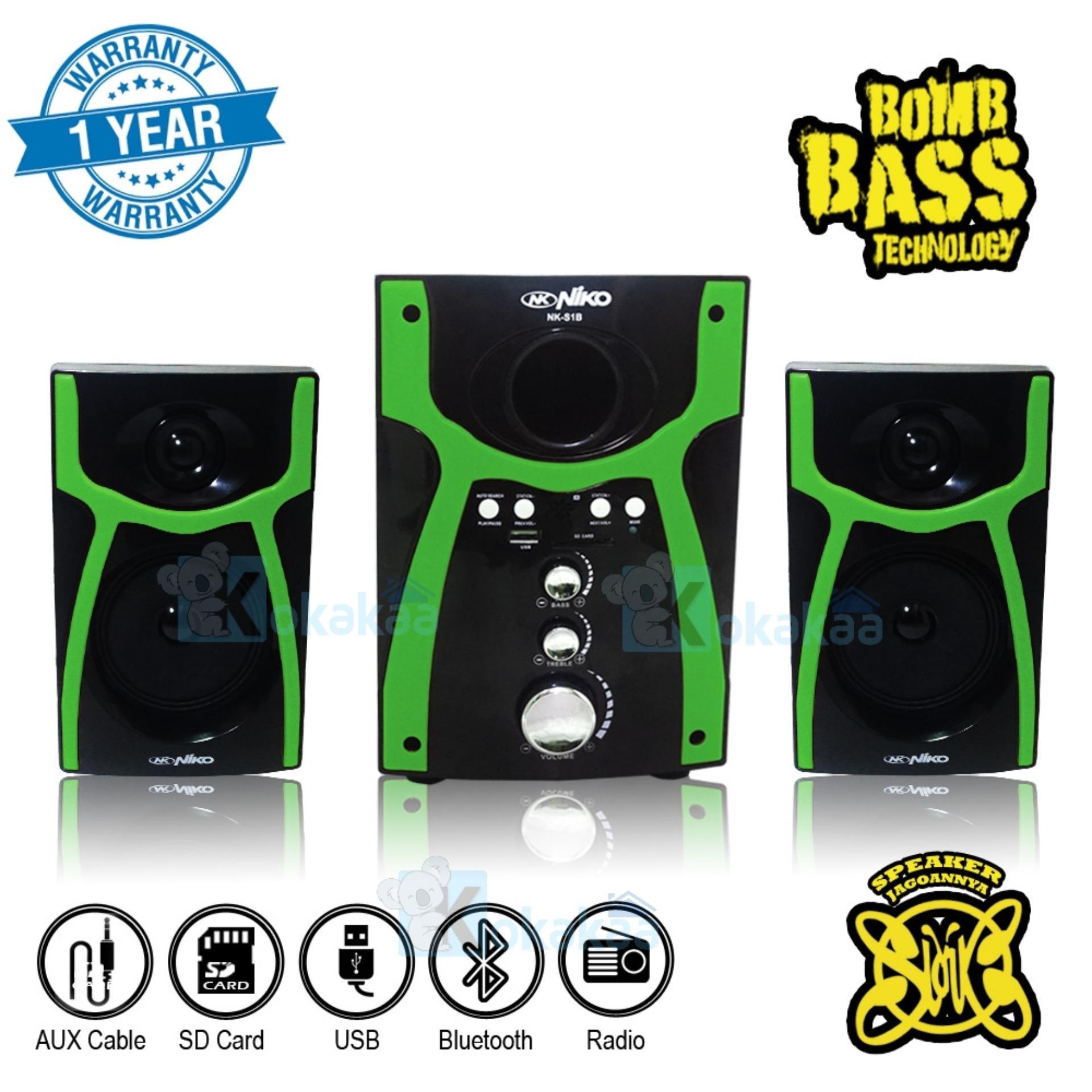 Niko Slank Speaker Super Woofer Bomb Bass Technology Pengeras Suara + Bluetooth NK-S1Bx - Hijau
