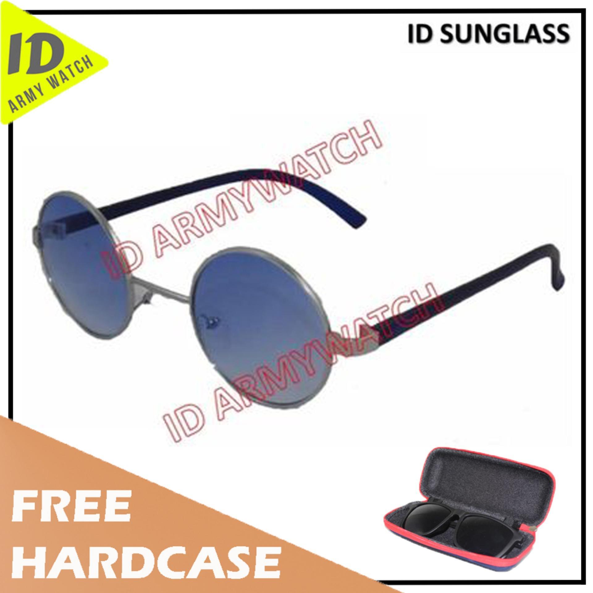 ID Sunglass - Kacamata Bulat Round Pria Wanita - Frame Silver - Lensa Biru  SUN 1001 b37597b9fd