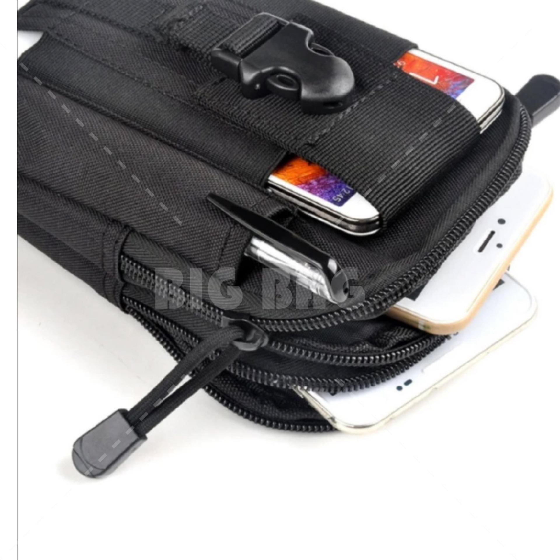 Tas Pinggang Pria Army Tactical Molle Waist Small Bag Military 1 Gratis Outdoor Cowok Militer Import Hitam
