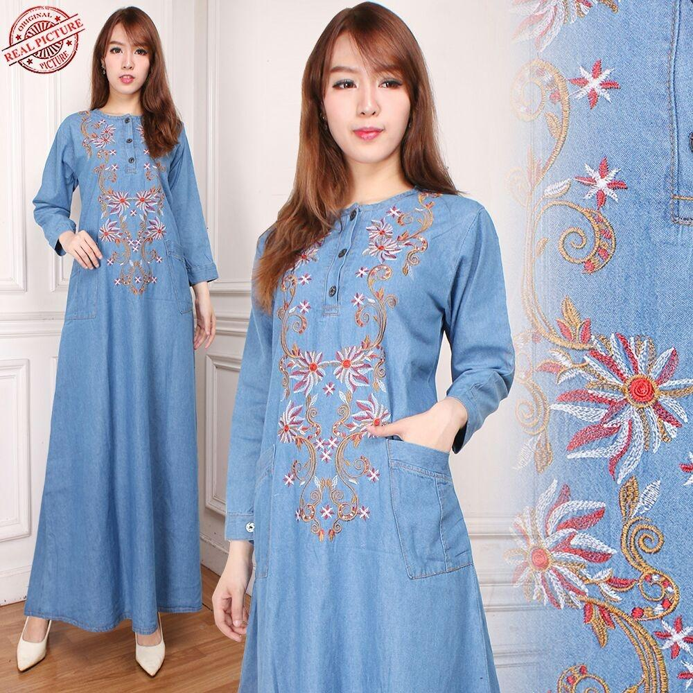 168 Collection Maxi Dress Qarija Gamis Jeans Wanita