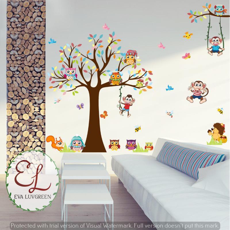 ... Eva Luvgreen Wallsticker Anak Pohon Owl Monkey Ukuran 60x90cm/ Stiker Dinding/ Stiker Tembok/ ...
