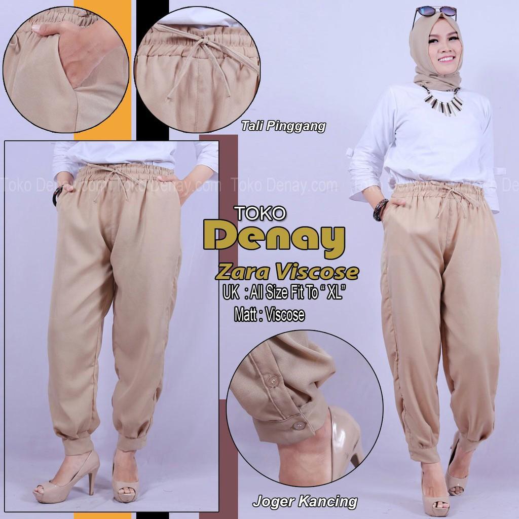 ZARA PANTS VISCOSE  Celana Panjang Wanita Basic Pants Premium JOGER KANCING Ori By Toko Denay