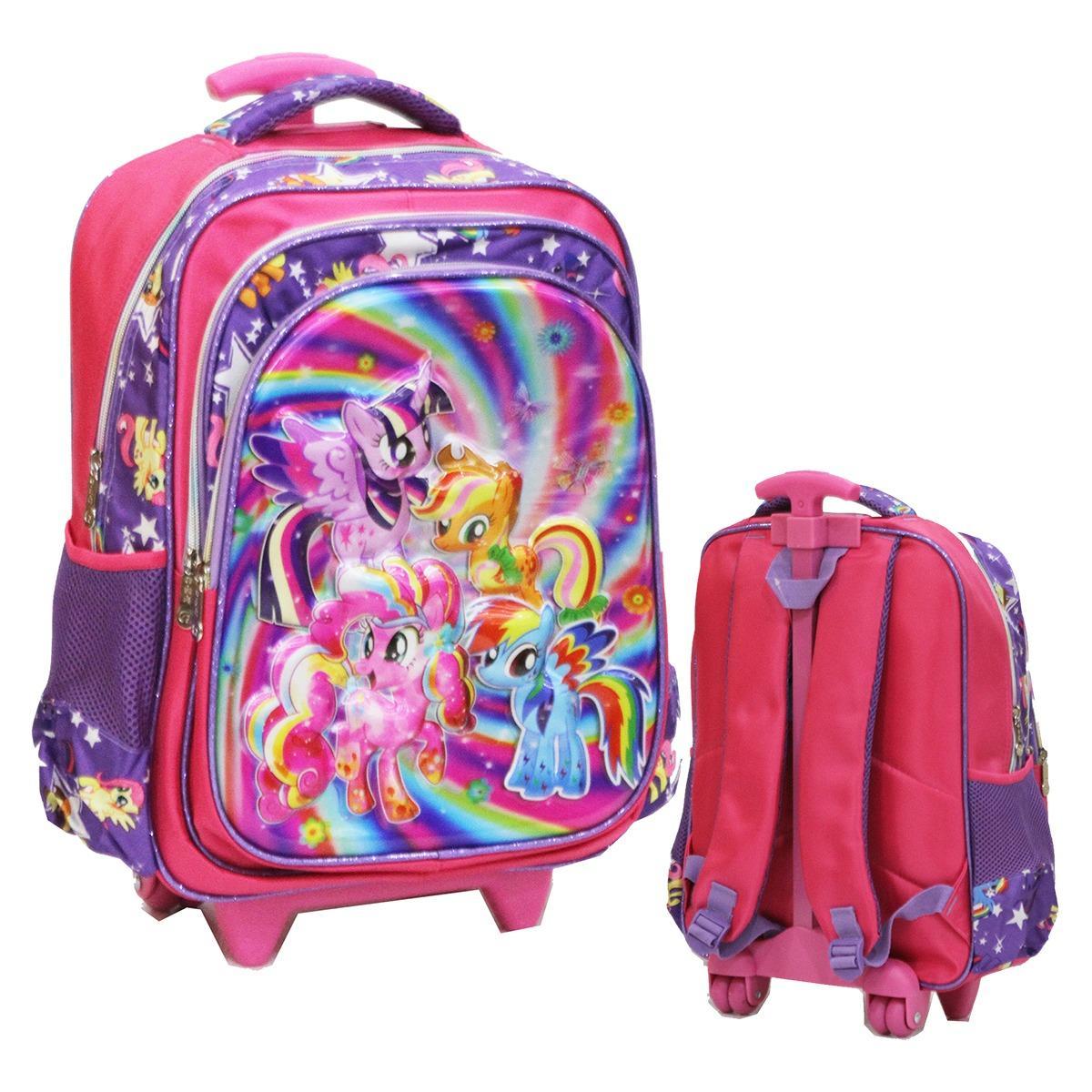 Onlan My Little Pony Flower 5D Timbul Hologram Tas Trolley Kantung Besar Resleting Rainbow IMPORT -