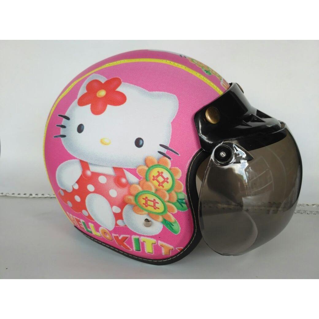 Helm Anak Bogo Motif Hello Kitty Pink Usia 2-7 Tahun Lapis Kulit Sintesis