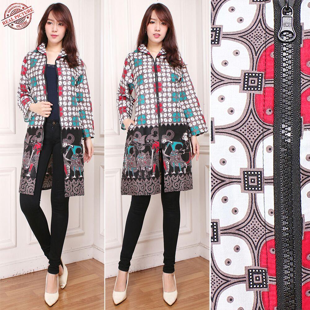 Cj collection Blazer batik 2in1 dress maxi pendek atasan blouse long tunik kemeja wanita jumbo shirt mini dress Putri M-XL