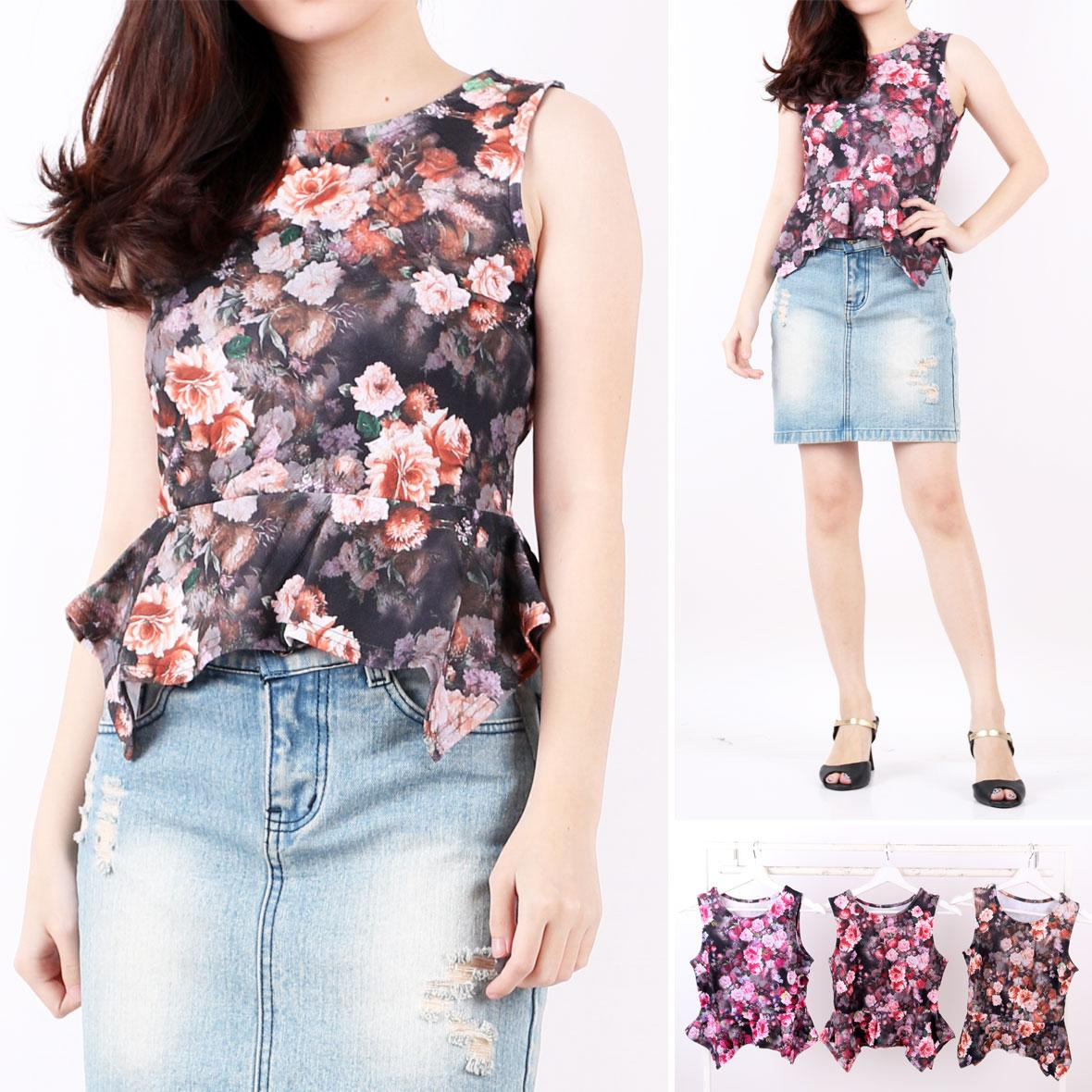 Oma Holley Fashion wariana Blouse Casual Sleveeles - 4 Warna - Size M