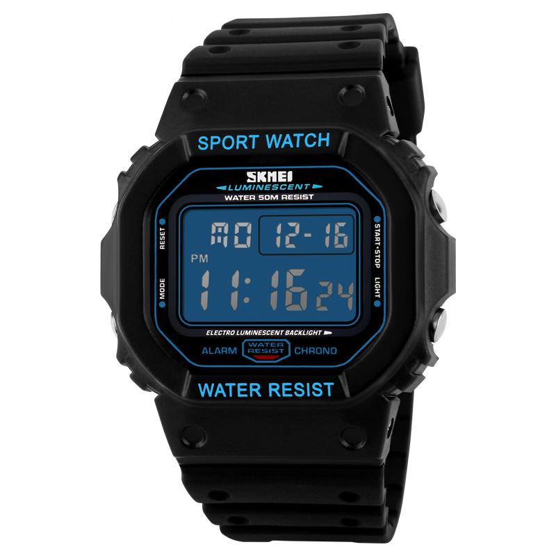SKMEI Sport Men LED Watch Anti Air Water Resistant WR 50m DG1134 Jam Tangan Pria Tali Strap Karet Silicone Digital Alarm Wristwatch Wrist Watch Fashion Accessories Stylish Trendy Model Baru Sporty Design - Hitam