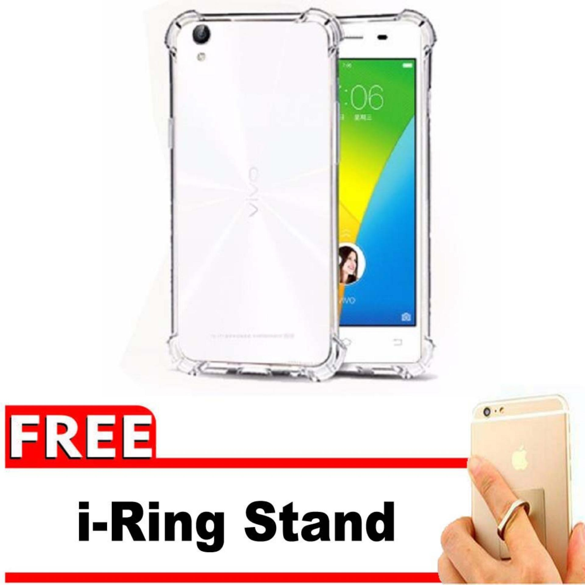 ShockCase for Vivo Y51 / Y51L / Y51T / Y51S | Premium Softcase Jelly Anti Crack Shockproof - Gratis Free iRing Stand Phone Holder - Transparan