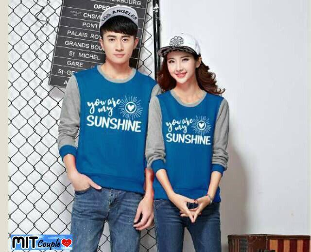 kaos couple / baju couple / sweater couple lengan panjang murah sunshine BABYTERRY Biru