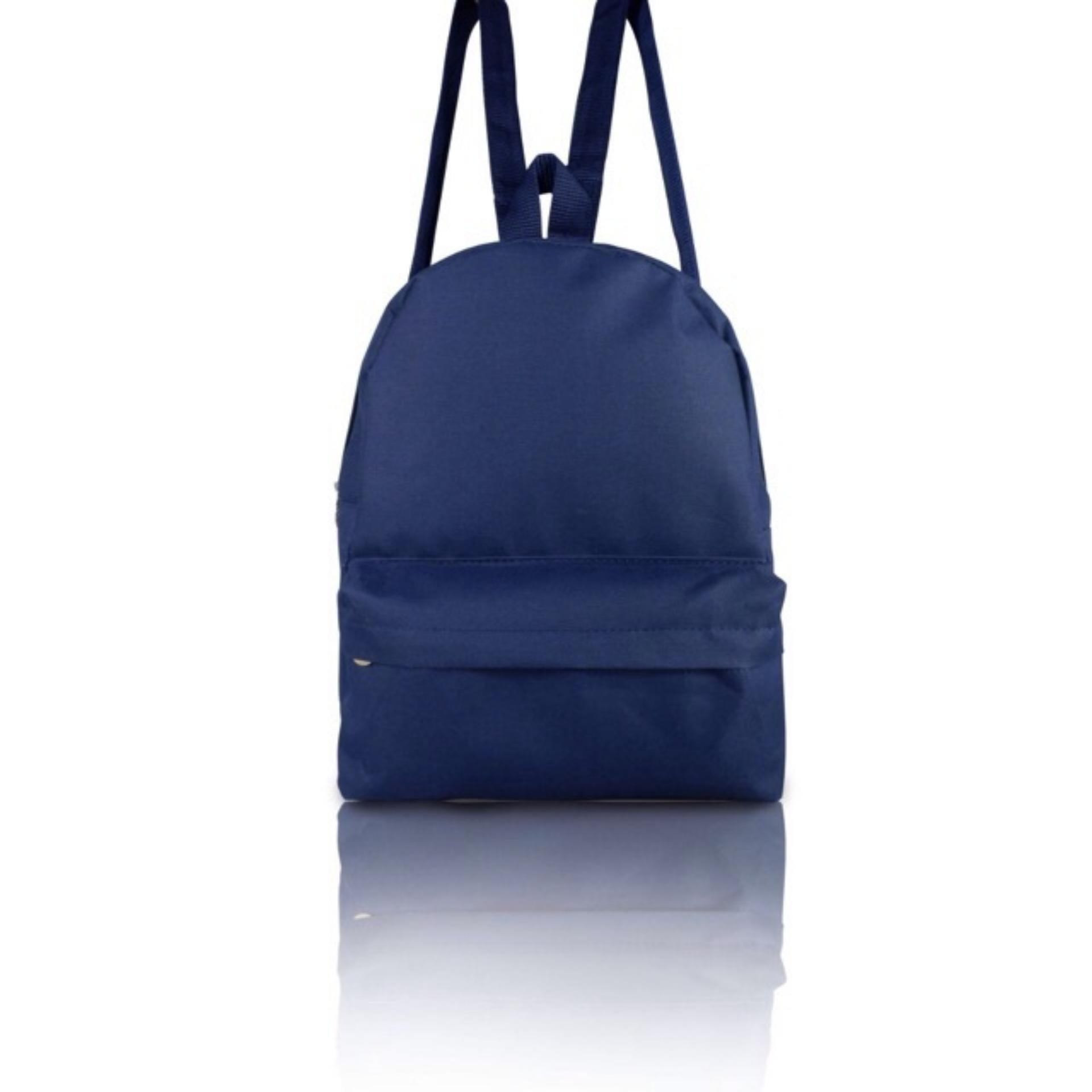 Raisya Tas Fashion Ransel Mini Canvas Polos - Navy