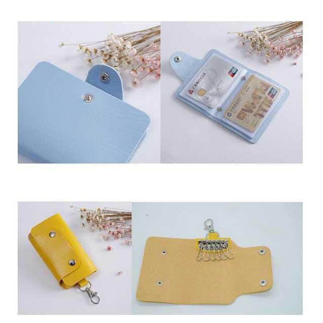 ... Paket Gantungan Kunci Dompet Kartu Kulit Card Holder PU Leather Key Chain 6 Key Slot Pocket