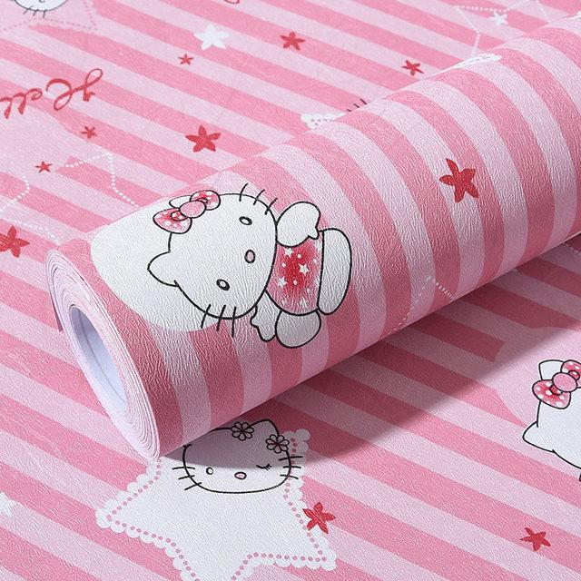 Detail Gambar Sticker Wallpaper Premium PVC - Walpaper Sticker Dinding Motif Nature (Size 45cm X 10M) - Salur Hello Kitty Terbaru