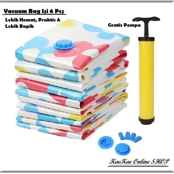 Jual Vacuum Bag Plastik Oganizer Tempat Penyimpanan Pakaian Multifungsi Paket Hemat 6 Pcs Pompa Manual Grosir