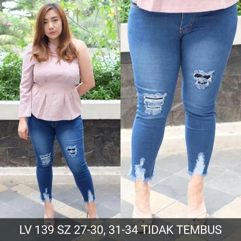 Celana Panjang jeans sobek wanita Ripped skinny Jumbo bigsize Brave
