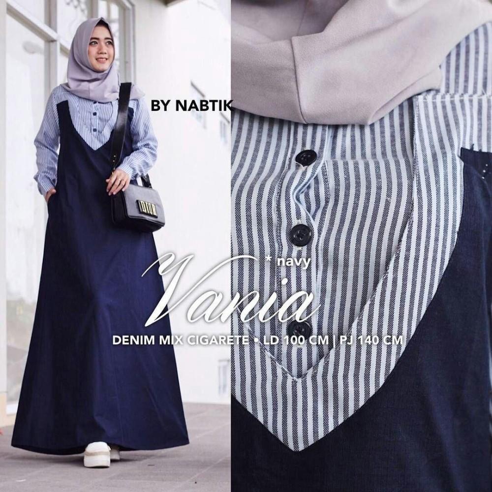 Baju Muslim Original Gamis Vania Dress Baju Panjang Muslim Casual Wanita Pakaian Hijab Modern Modis Trendy Terbaru 2018
