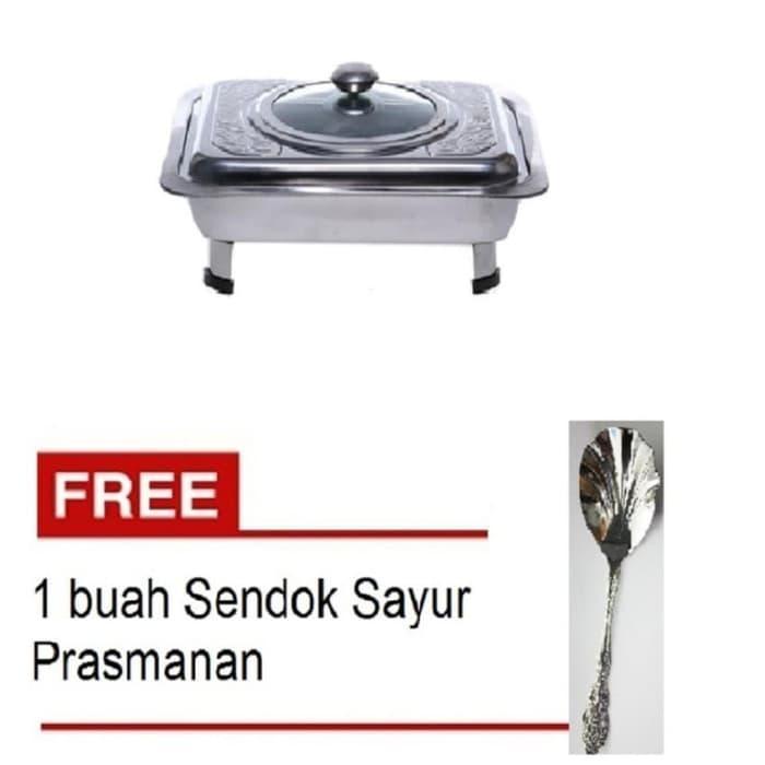 Tempat Makan Prasmanan Motif Silver + Free Sendok sayur Prasmanan
