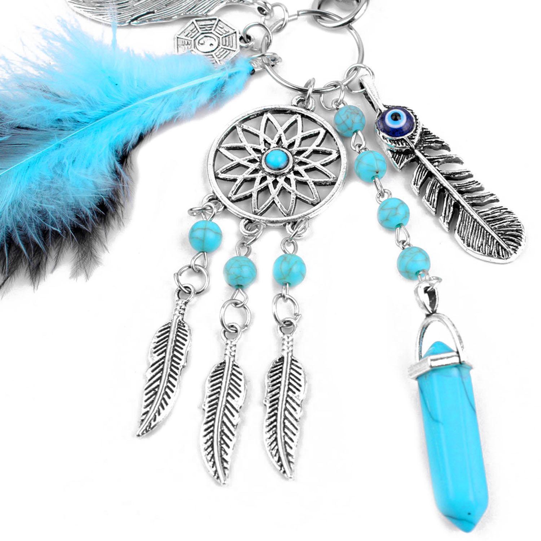 BoHo Style Fashion Hanging Liontin Gantungan Kunci Rantai Gantungan Kunci dengan Ornamen Bulu .