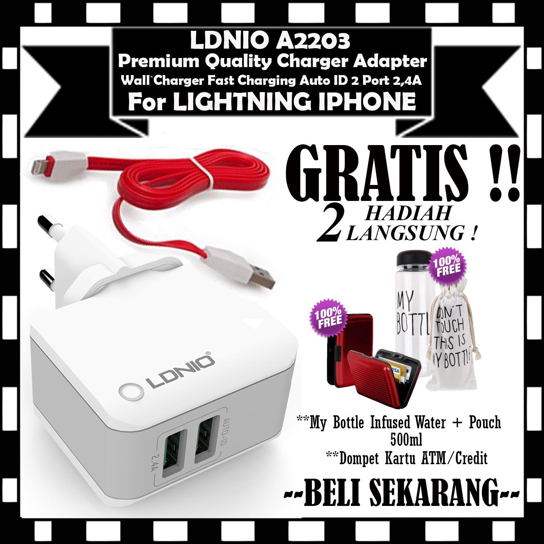 Charger + Kabel Lightning For Iphone 5 / 5s / 6 / 6+ ORIGINAL LDNIO AC2203 2.4A 2  Port USB  - GRATIS My Bottle Botol Air Minum 500ml & Dompet Kartu ATM / Credit