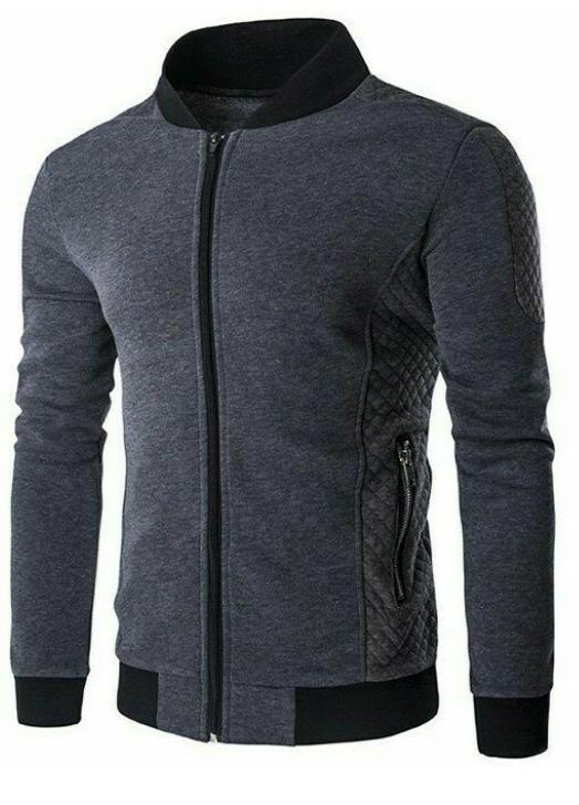 jaket sweater kombinasi dark grey