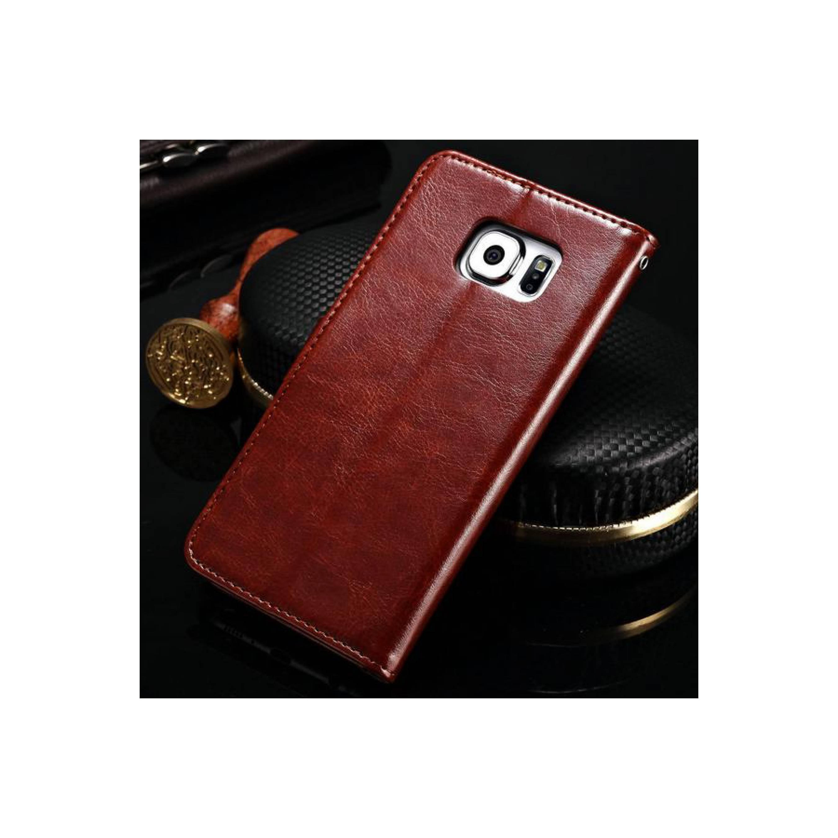Samsung Galaxy S6 FLAT Wallet Premium Flip Cover Case PU Leather Book