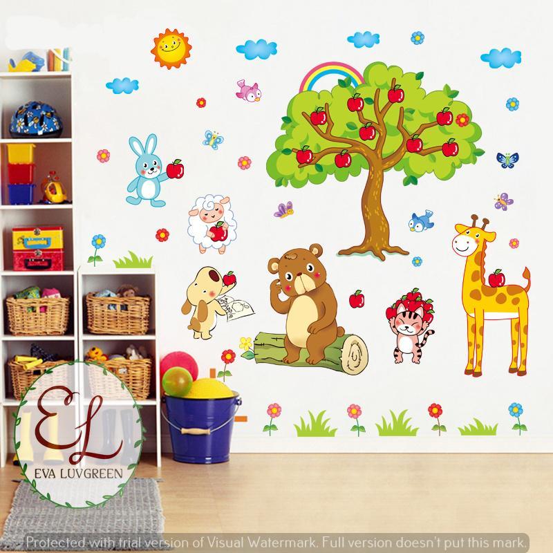 ... Eva Luvgreen Wallsticker Anak Pohon Apel dan Animal Ukuran 60x90cm/ Stiker Dinding/ Stiker Tembok ...