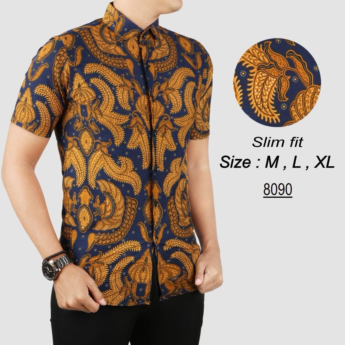Kemeja model Slim Fit Baju Batik Modern Kemeja Pria Slim fit s8090