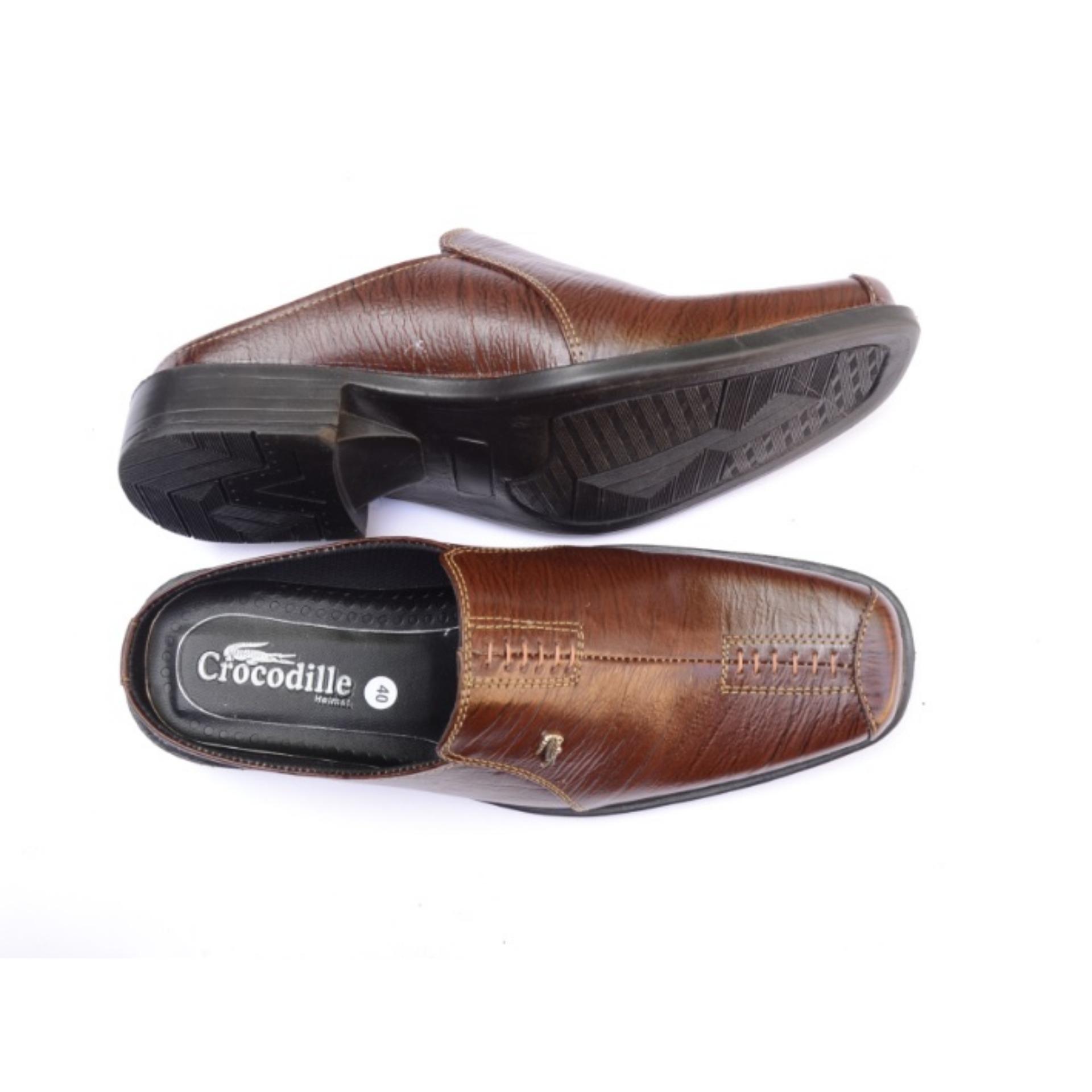 Crocodile Sepatu Sandal Selop Pria Kulit Bahan Kukit Sapi Asli Fd 1
