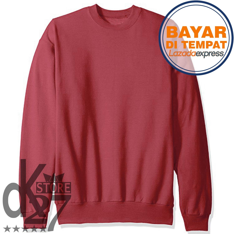 Beli Dk Sweater Basic Polos Model Unisex Pria Wanita Pakai Kartu Kredit