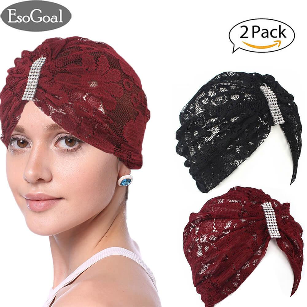 Review Esogoal 2 Pack Women Muslim Hijab Ruffle Cancer Chemo Elegant Lace Hat Beanie Scarf Turban Head Wrap Cap Black And Claret Tiongkok