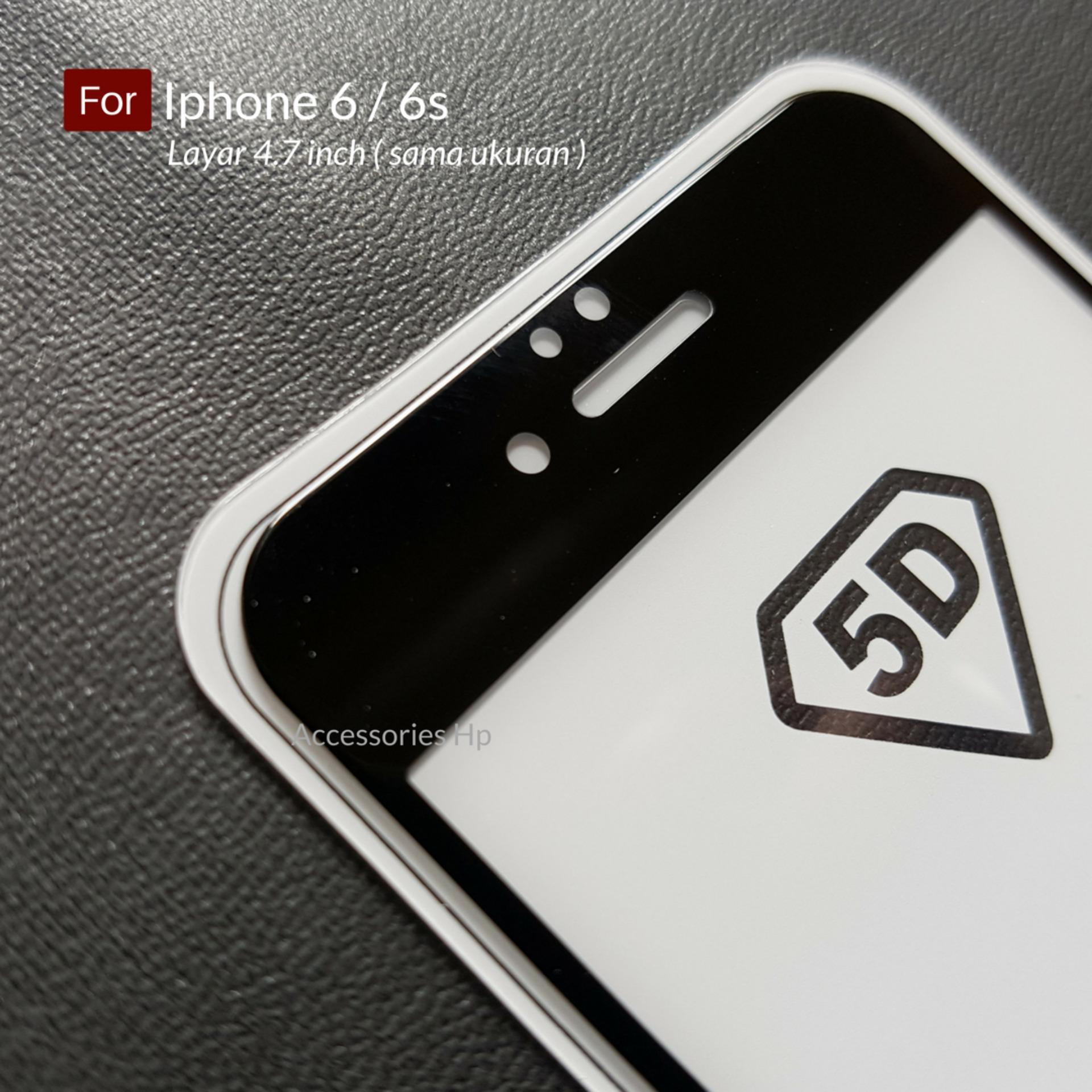 Ambigo Premium Tempered Glass 5D Full Cover Anti Gores Warna Kaca Full Lem For Iphone 6
