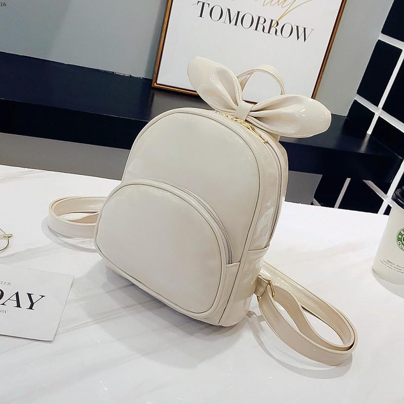 Kecil Segar Tas Perempuan Imut Tas Punggung Kecil Tas Ransel (Putih Putih)