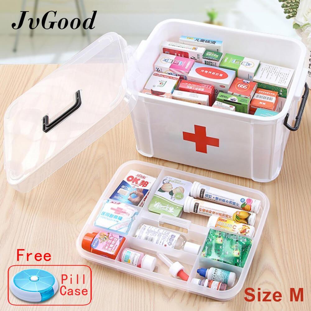 Jvgood Rumah Tangga Medis Kabinet Kotak Kosong First Aid Kit Penyimpanan Plastik Kasus Pil Dengan Kompartemen Terpisah Ukuran M 33 5 Cm X 24 Cm X 17 7 Cm Jvgood Diskon 30