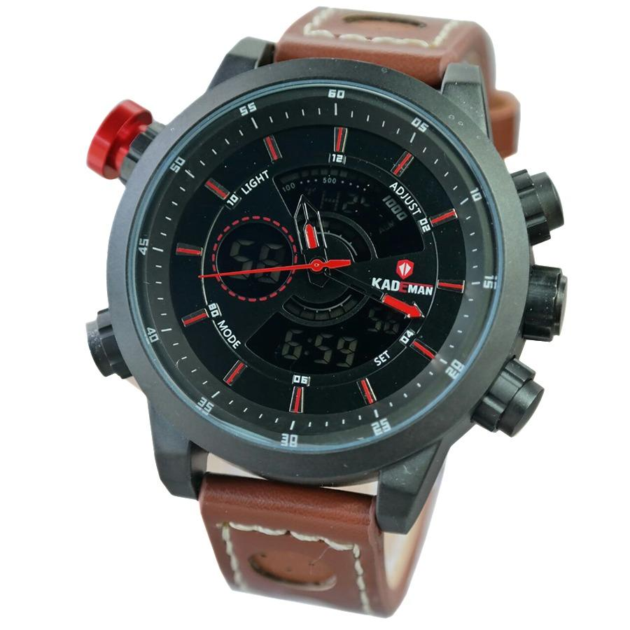 KADEMAN 01M.160D47 Jam Tangan Pria Dual Time Leather Strap - Coklat Hitam List Merah