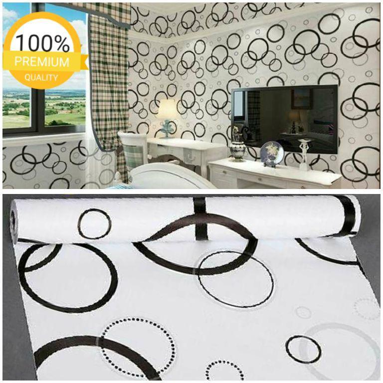 Wallpaper dinding murah ruang tamu kamar tidur polkadot hitam putih terbagus terlaris termurah
