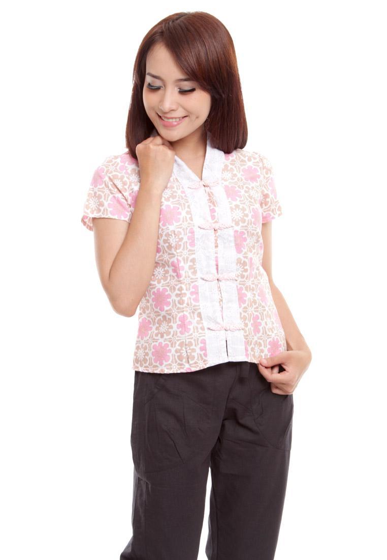 Review Batik Aksen Baju Batik Atasan Batik Wanita Pink Pastel Modern