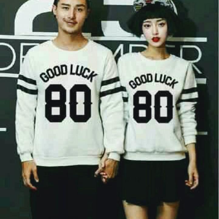Harga Legionshop Sweater Pasangan Sweater Couple Baju Pasangan Baju Couple Couple Terbaru 80 Goodluck White Sudah Harga Pasangan Online
