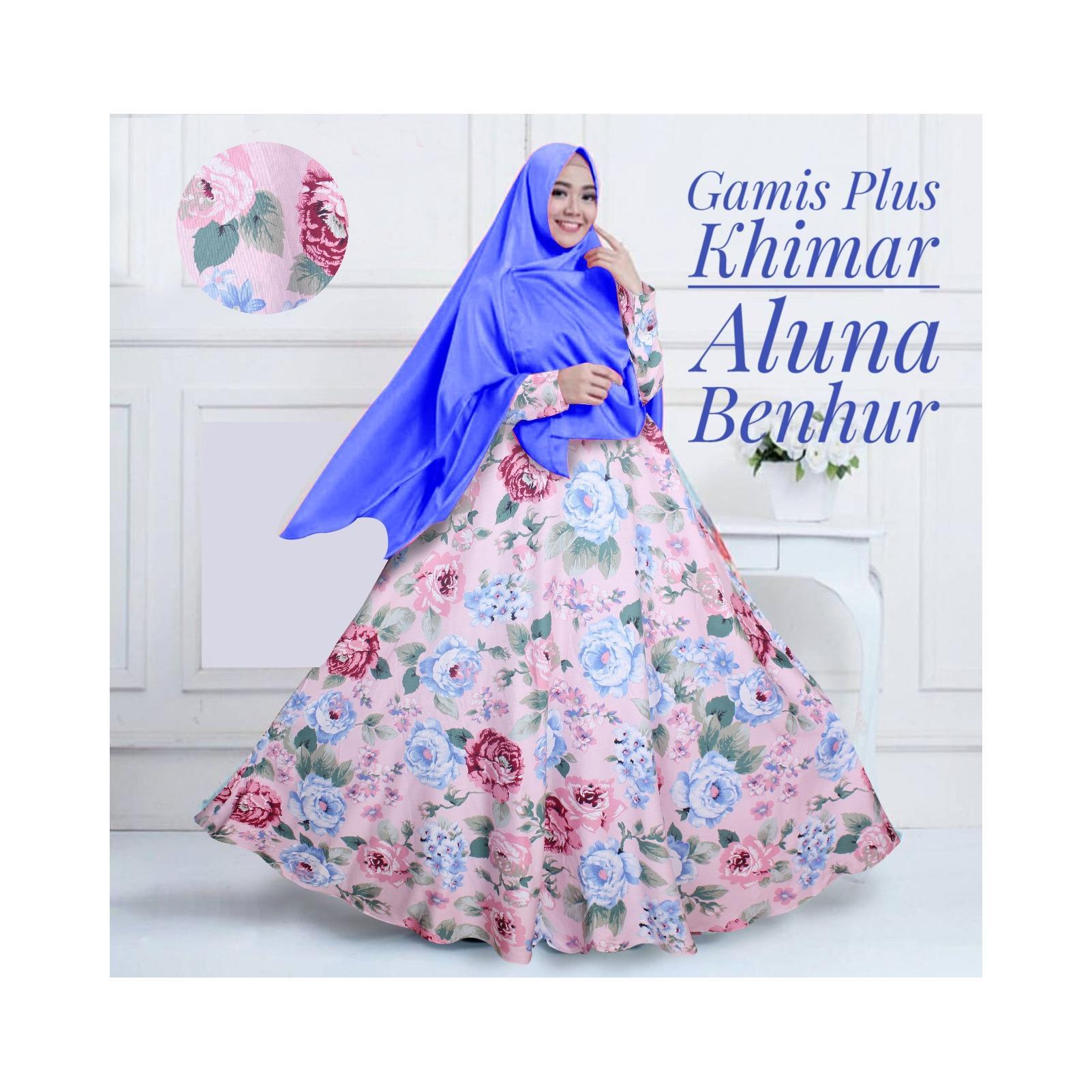 Gamis Katun Syari Murah / Gamis Maxi Dress Katun Aluna Plus Khimar Biru / Gamis Katun Busui
