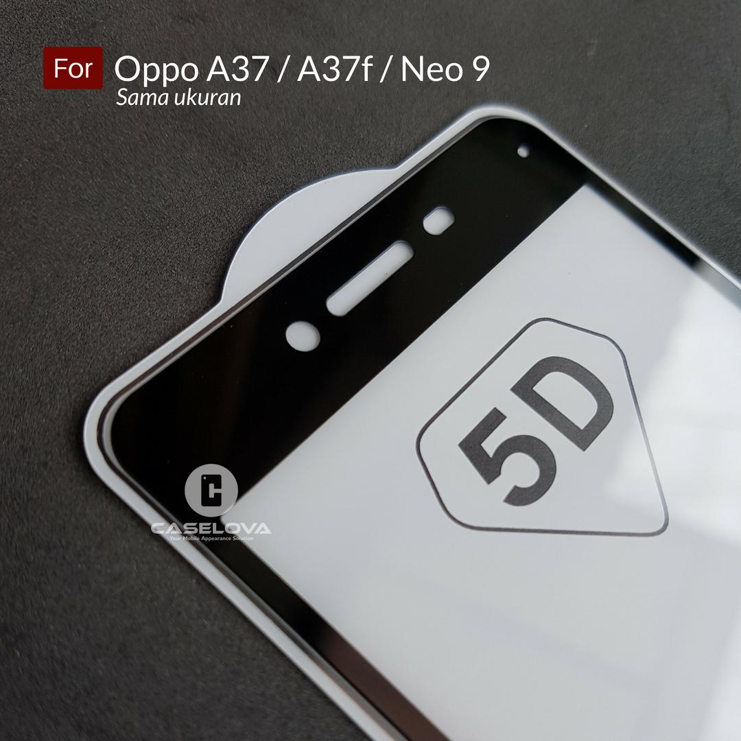 Caselova Premium Full Cover Tempered Glass 5D Round Curved Edge For OPPO A37 / A37f .