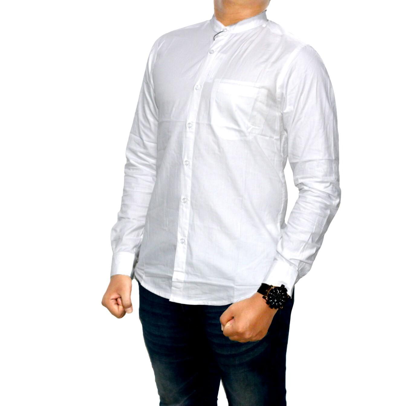 Dgm_Fashion1 Kemeja Putih Polos Kerah Sanghai Oxford/Kemeja Denim/Jeans Pria/Kemeja Polos