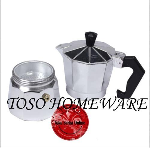... Silver Mokapot Alumunium 3 Cup Moka Pot Coffee Espresso Kopi Genzakitchen - 3
