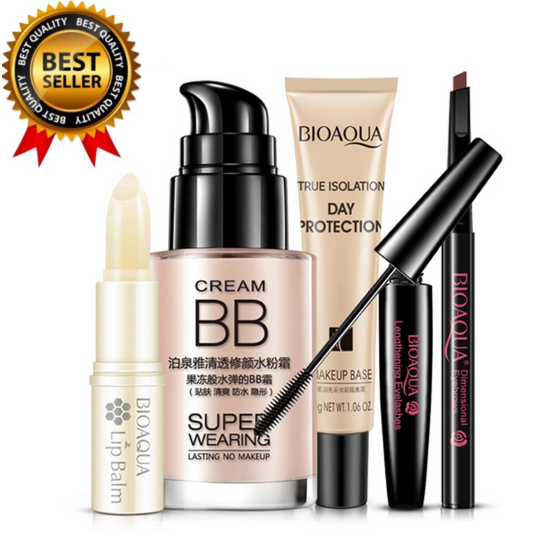 BIOAQUA Bright Cosmetics Makeup Set Lip Balm BB Cream Eyebrow Pencil Mascara Cream Makeup Base 5pcs