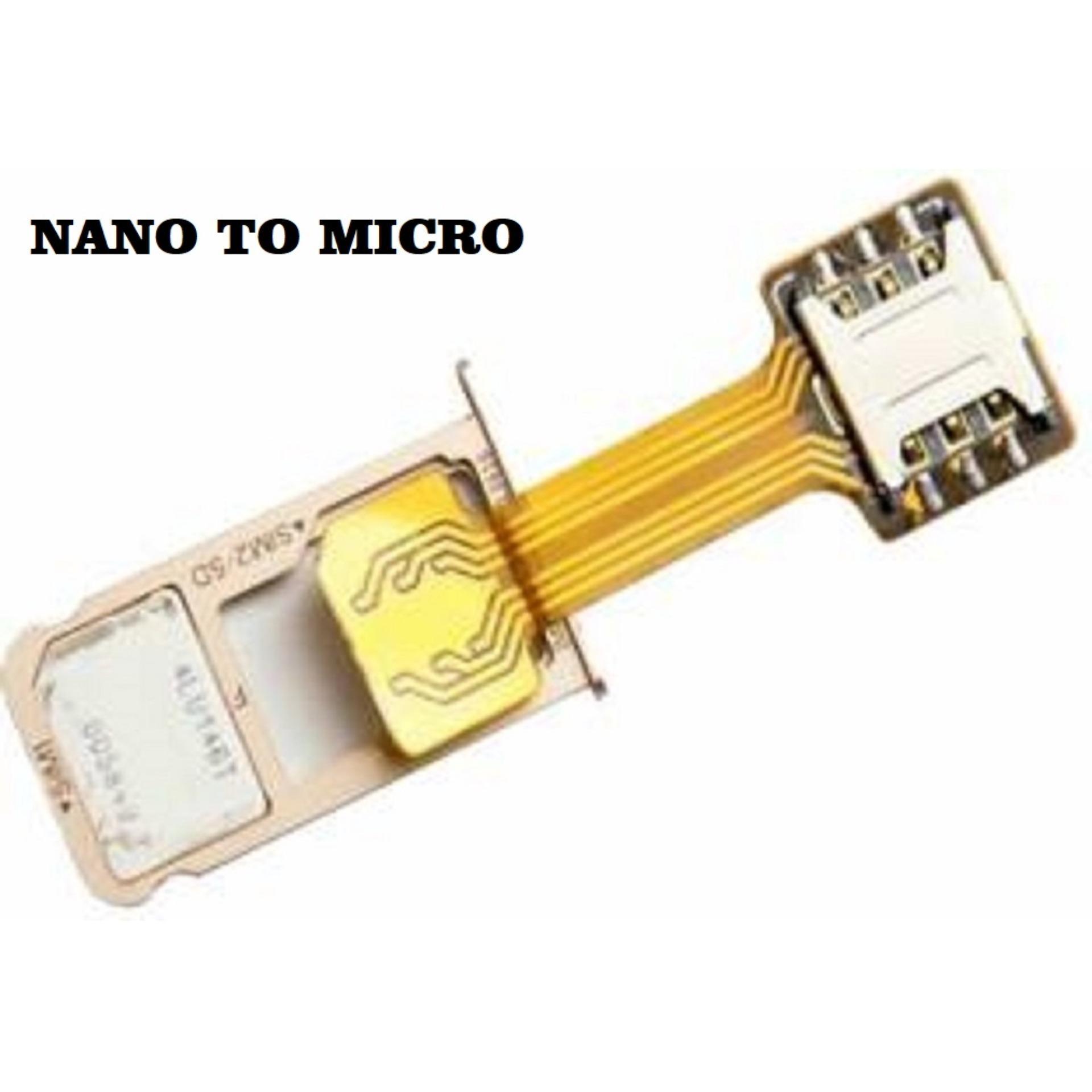 Dual Simcard Hybrid Extender Extension Micro SD Converter Adapter SIM Card for Oppo / Xioami Redmi / Samsung / Asus Zenfone / Meizu / Huawei - Nano To Micro