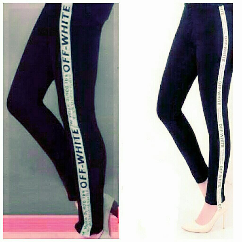 Beli Arwearhouse Legging Denim Jeans Biru Navy Strip Putih Jeans Off White Pakai Kartu Kredit