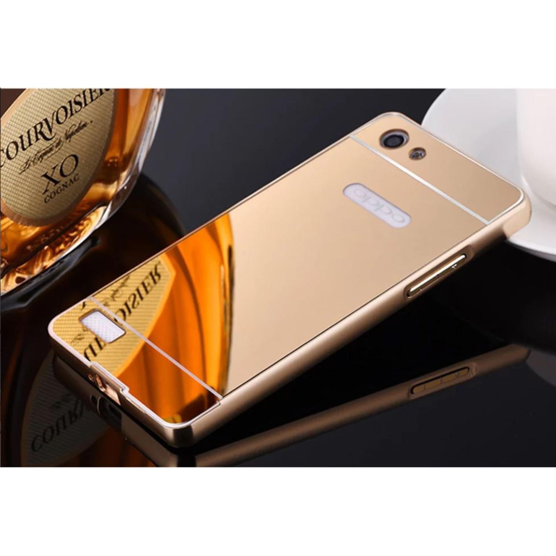 Aldora Case For Oppo Neo 7   Oppo A33Metal Bumper Miror Premium Quality -  Gold cab26a0e97