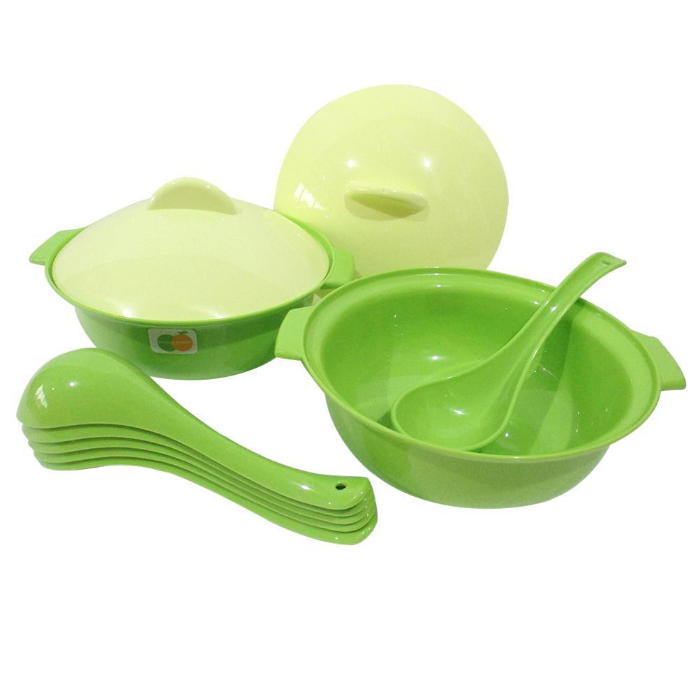 Mitra Loka Basi Tutup Bulat Set 2Pieces + Sendok Bebek Set 6Pieces / Mangkok Plastik /