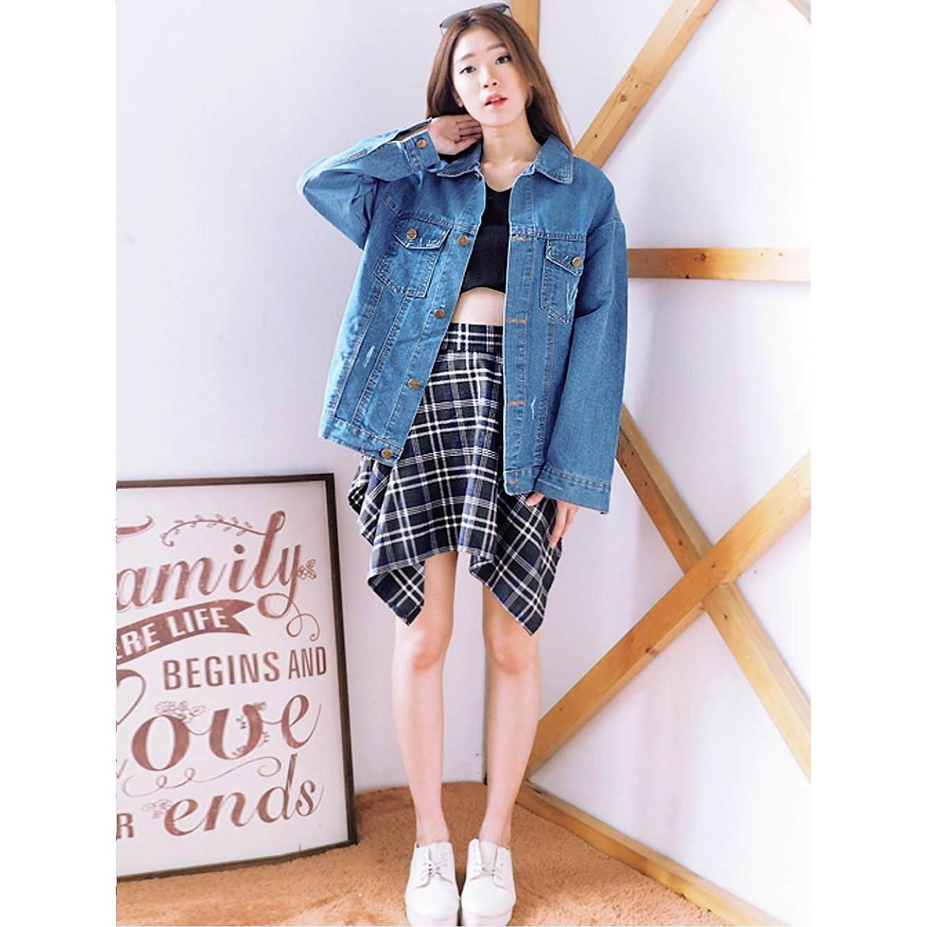 Review Jaket Jeans Denim Wanita Oversize Ripped Ancien Store Dki Jakarta