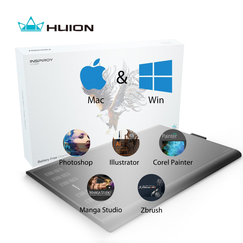 Huion Battery Free Tablet H1060P 10 x 6.25 Inch Tablet Gambar Grafis dengan .