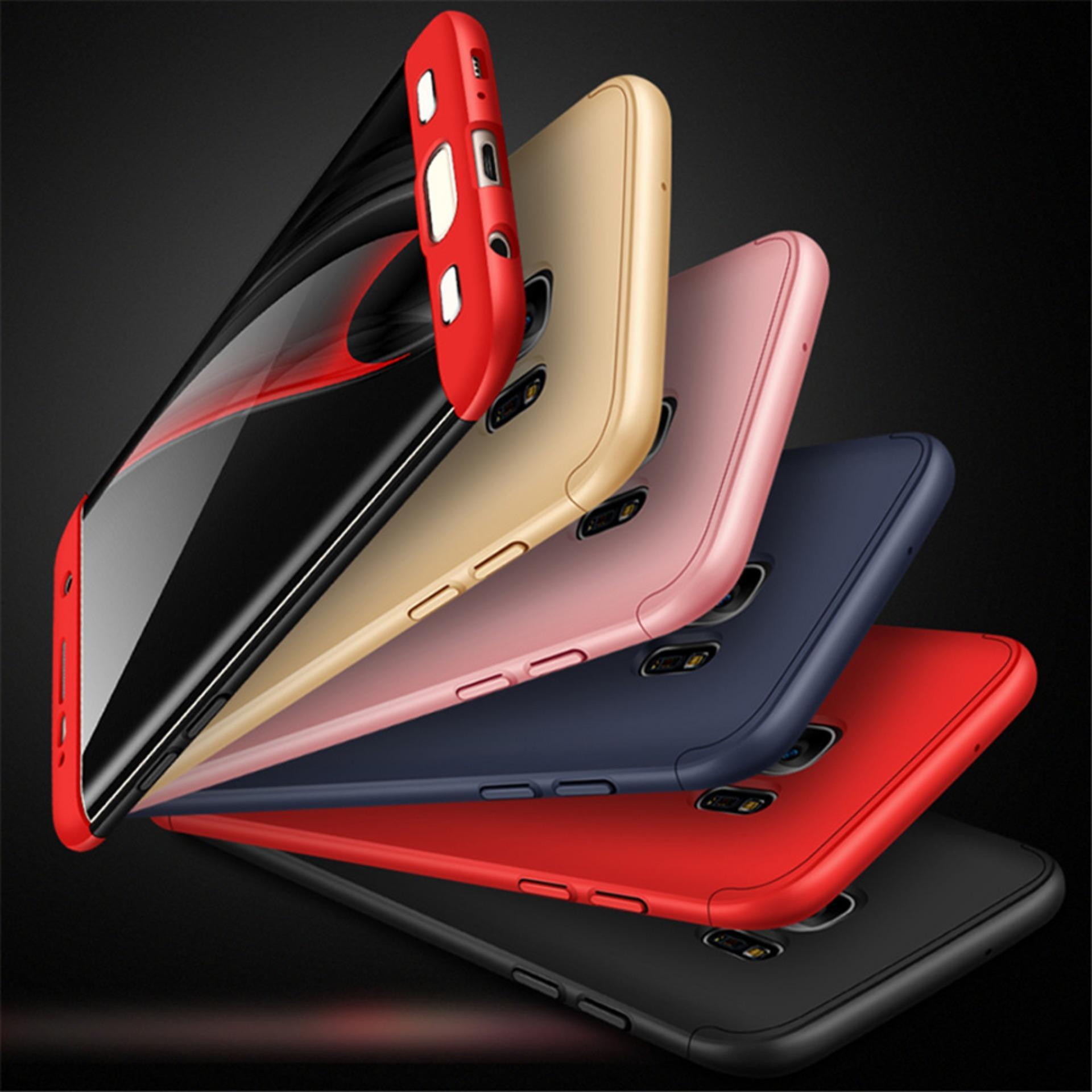 Premium Case 360 Degree Full Protection Super Slim Anti Slip Hard Back Case Cover For Oppo Realme C1 - Random Color + Free Tempered Glass - 2
