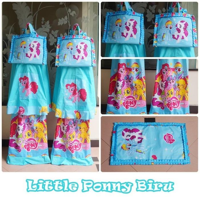 Mukena Anak Little Pony Biru (Size XL)